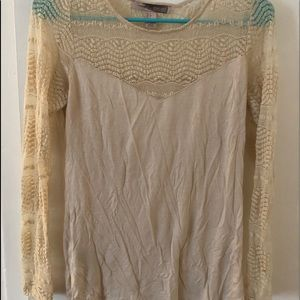 Tan long sleeve lace forever 21 shirt